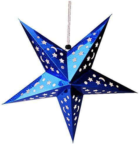Yuelian Christmas Wedding Party Decorations Star Lamp Cover Paper Lamp Shade Lanterns Lampshade 60 Blue Paper Stars Laser Paper Christmas Decorations