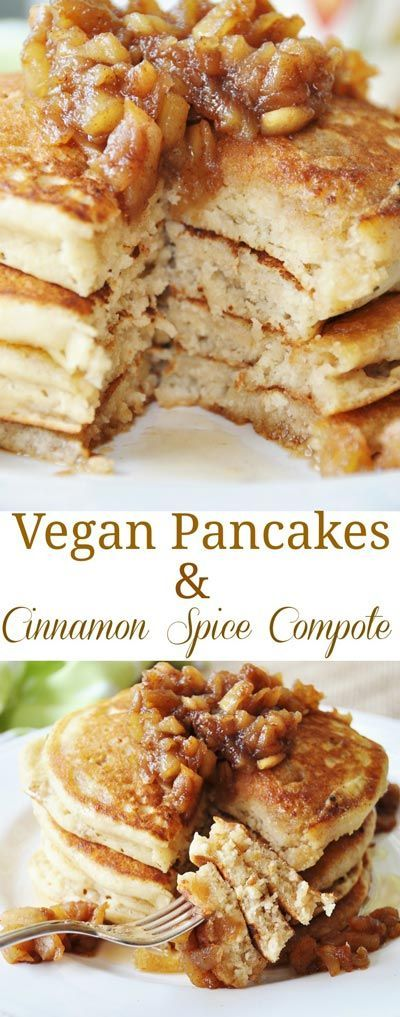 Old Fashioned Fluffy Vegan Pancakes with Apple Spice Compote. The fluffiest vegan pancake recipe that I've ever had. With a delicious apple spice compote on top. This is my husband's favorite!