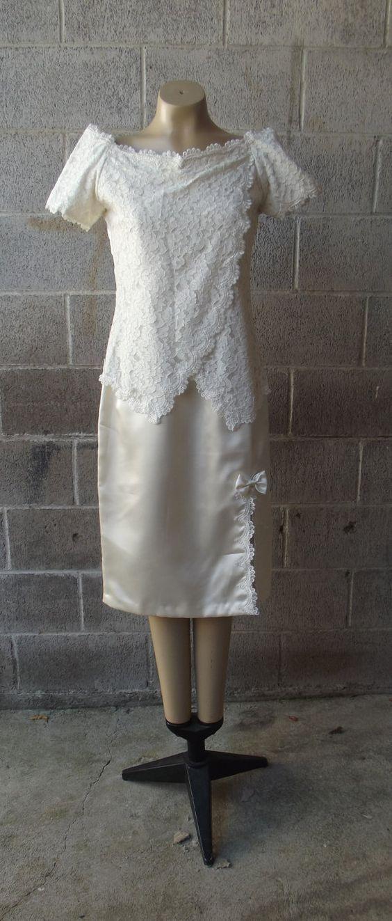 WEDDING DRESS 1970s Drop Waist Lace Bodice Satin by PiecesBoutique, $48.00