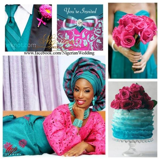 teal and pink wedding colors nigerian wedding color