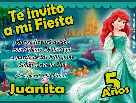 Invitaciones de la Princesa Ariel la Sirenita