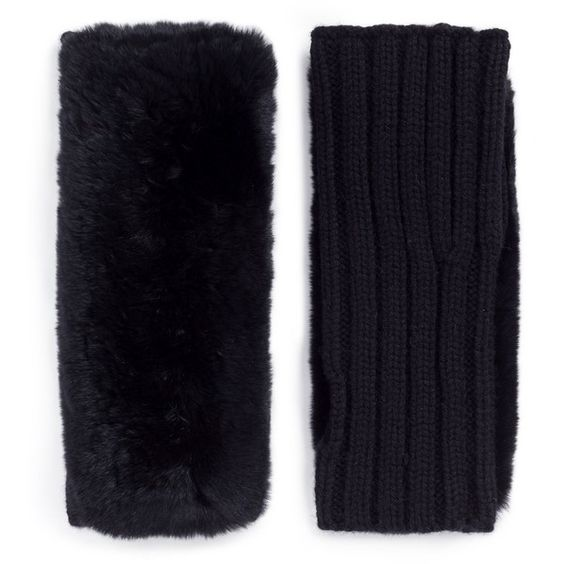 Yves Salomon Rabbit fur panel wool-cashmere knit fingerless gloves (240 CAD) ❤ liked on Polyvore featuring accessories, gloves, black, wool gloves, wool fingerless gloves, rabbit fur gloves, yves salomon and woolen gloves