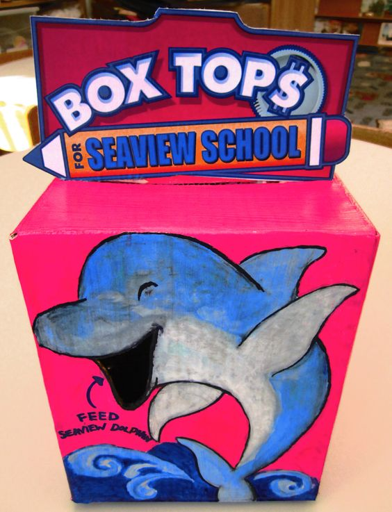 Box Tops Collection box. Feed the school's mascot your box tops.