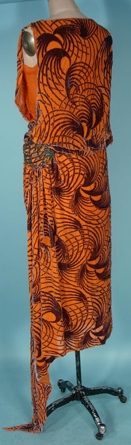 ~c. 1920's Orange with Gray Cut Velvet Flapper Dress~