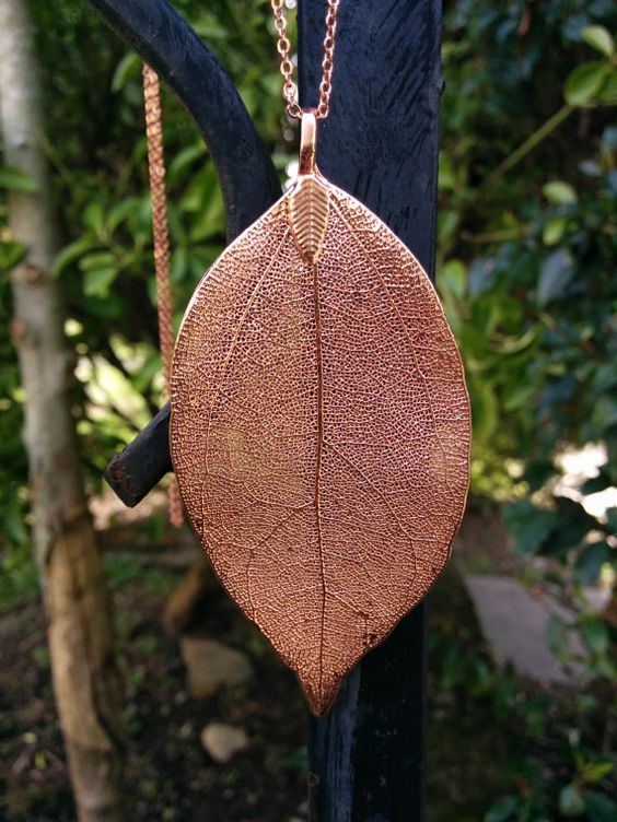 Long Copper Electroplated Leaf Necklace by GemAndPebble on Etsy