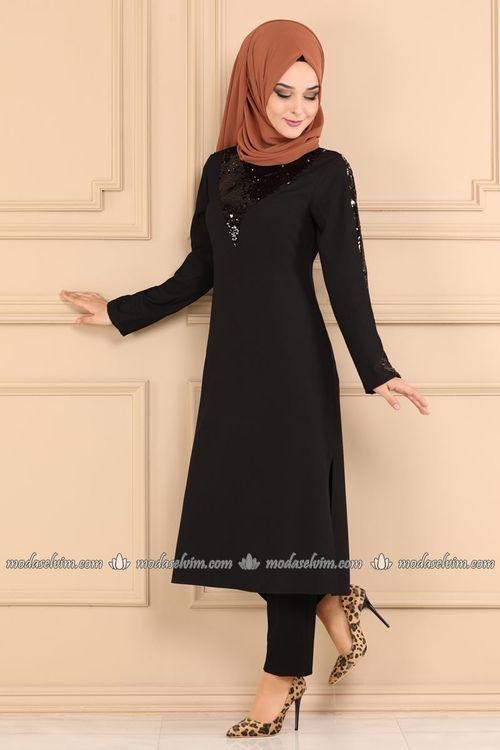 Modaselvim Tunik Pul Payetli Tesettur Tunik 2231ms212 Siyah Giyim Elbise Tunik