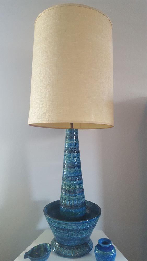 Bitossi Rimini Blue Ceramic Mid Century Lamp 60 S Huge Bitossi Mid Century Lamp Blue Ceramics Lamp