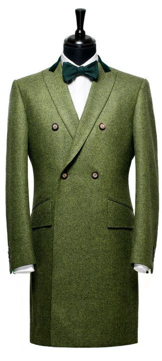 Wonderful green overcoat by Ozwald Boateng. ( there just the tuffest bit of Teddy Boy infused in this coat OUTSTANDING )