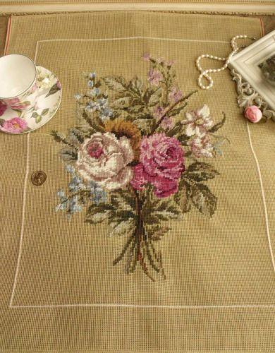 GRANDE-25-x-20-Vintage-PREWORKED-bordado-Canvas-rosa-rosas-DESGASTADO-Bunch-elegante
