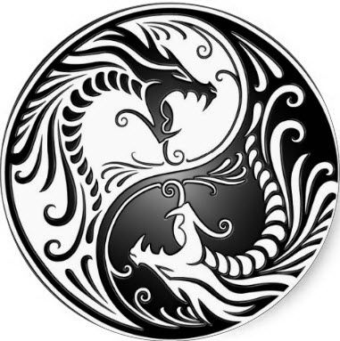 black and white ying yang dragon dragons of contrast Yin Yang Dragon Koi Yin Yang Tattoo