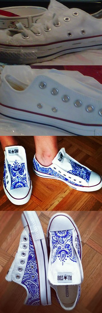my 3 dollar yard sale investment!   went from dirty converse to bright white again, to henna style slip-ons with a little elbow grease, sharpie and elastic!