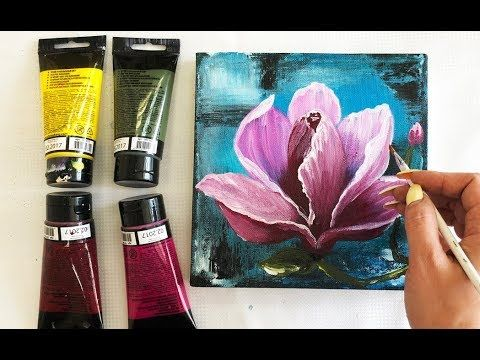 How To Draw Flower Magnolia Painting Demonstration Acrylic Technique On Canvas By Julia Kotenko Flower Drawing Flower Art Painting Abstract Flower Painting