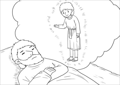 An Angel Of The Lord Appeared To Joseph In A Dream Coloring Page Angel Coloring Pages Nativity Coloring Pages Jesus Coloring Pages