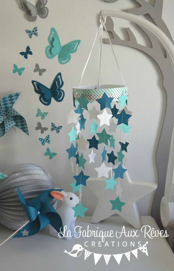 Mobile toiles b b gar on turquoise cara be p trole blanc for Turquoise et gris
