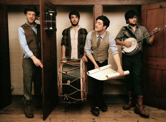 mumford and sons rock the best old timey carnivalesque men's fashion.//i'll boyfriend all of them.