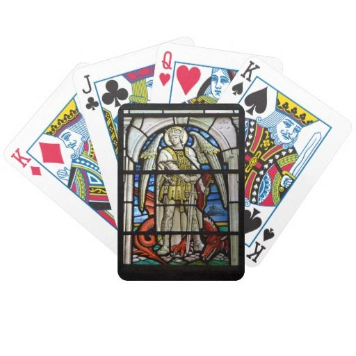 Stained Glass St Michael Helston Cornwall England Poker Cards