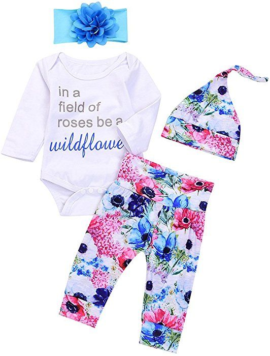 WEUIE 4PCS Newborn Baby Girl Long Sleeve Romper Jumpsuit Bodysuit Print Long Pants Headband Cap Outfit Set