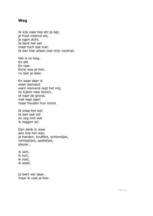 gedicht voor iemand die dood gaat