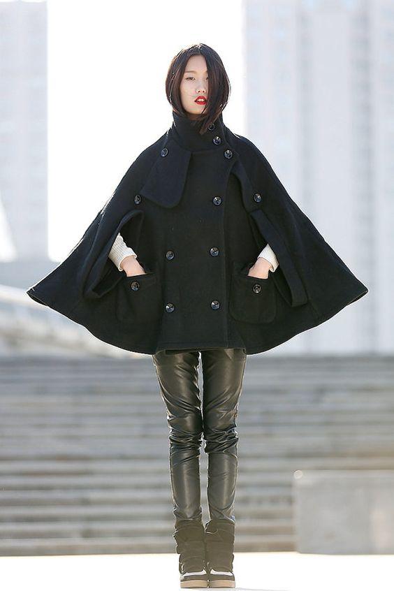 Winter Wool Cape Coat - Black Poncho Style High Collar Short Women