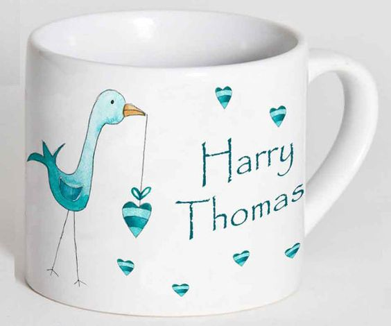 Child's Cup,Toddler Cup, Kids Cup, Christening Gift,Baptism Gift,1st Birthday Gift,Personalised Cup, Blue Stork Cup