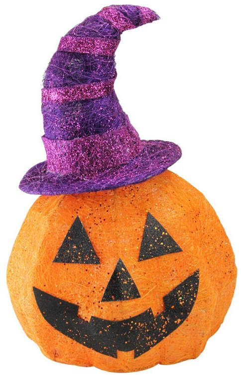 Northlight Battery Operated Lighted Sisal Jack O Lantern With A Witches Hat Halloween Outd Halloween Outdoor Decoration Outdoor Halloween Halloween Decorations