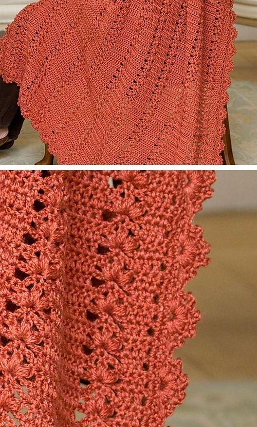 Free Crochet Afghan Patterns Red Heart Yarn : Trefoil Throw, free pattern from Red Heart Yarns ...