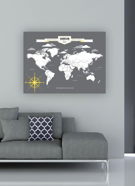 World Traveler Map INTERACTIVE Family Map Mark the places you – Personalized World Traveler Map Framed