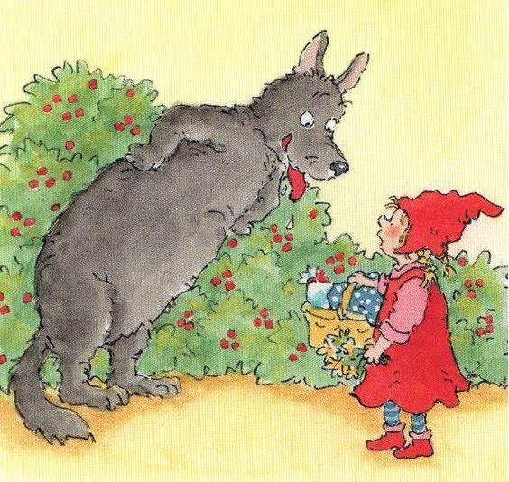 Roodkapje: Lees de kinderen enkele fragmenten uit het sprookje Roodkapje voor. Vraag na ieder fragment welk lichaamsdeel ze in het verhaal gehoord hebben. De kinderen wijzen dit lichaamsdeel af. Voorbeeld: 'de wolf likte zijn lippen af / op zijn tenen sloop hij naar / met een volle buik / grote oren / grote ogen.