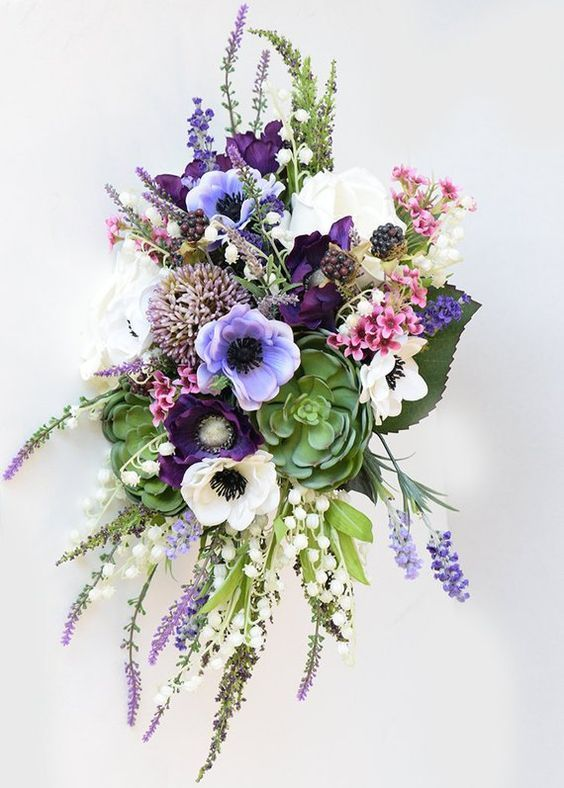 Hottest 7 Spring Wedding Flowers Purple And White Anemone Wedding Bouquets With Succ Peonies Bouquet Purple Succulent Bouquet Wedding Purple Wedding Bouquets