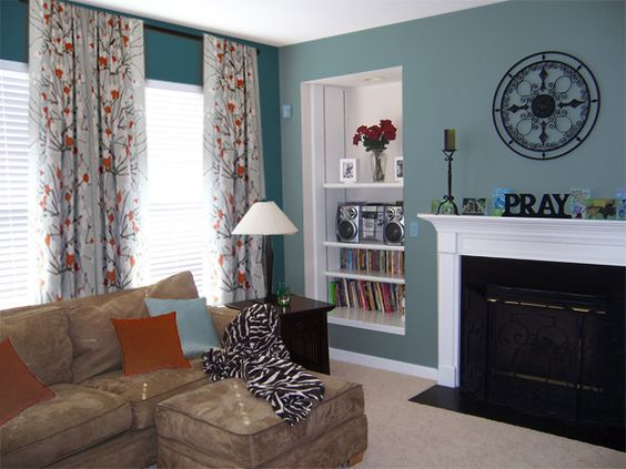 amazing orange green paint colors living rooms | The bold teal and its muted counterpart are perfect for Jo ...