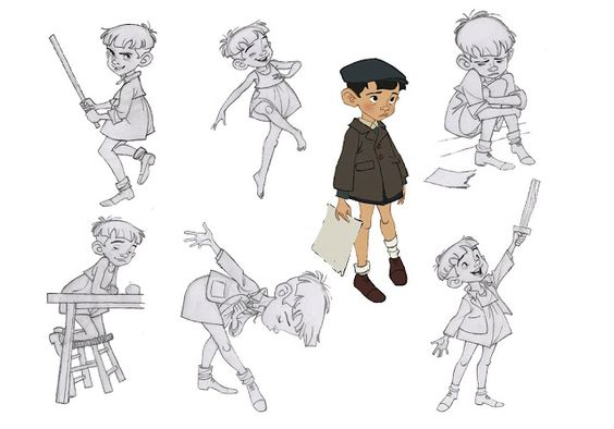 "Little boy Nino character designs / sketches by Borja Montoro for ""Giacomo's Secret"""