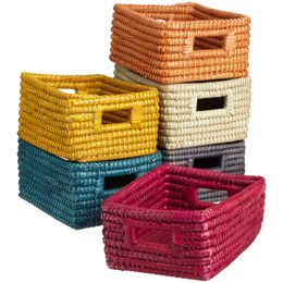 The Container Store > Rectangular Sea Grass Bin  Yellow and gray options $7.99