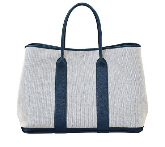 bag hermes price - Garden Party Hermes bag in ecru/Prussian blue twill H canvas and ...