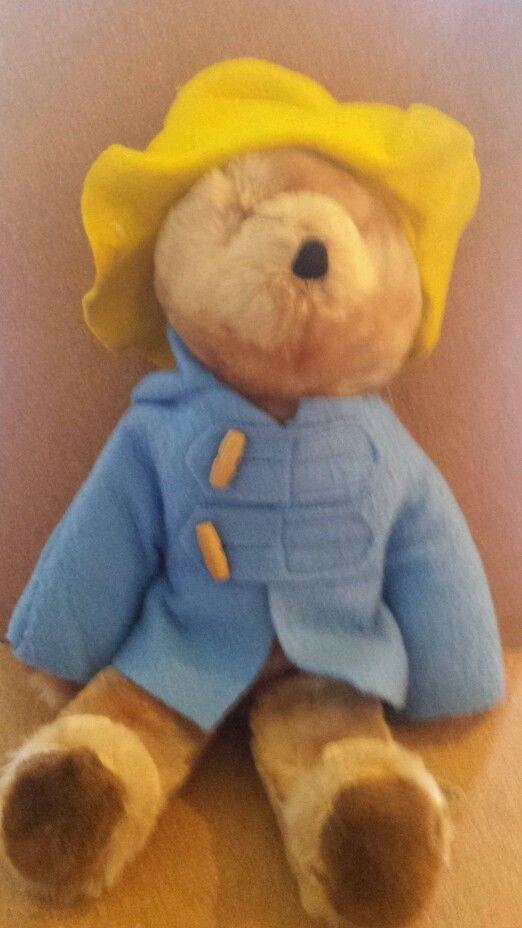 "Vintage Eden Paddington Plush Teddy Bear 16"" Blue Coat Yellow Hat. This is the exact Paddington I had in the 70's."
