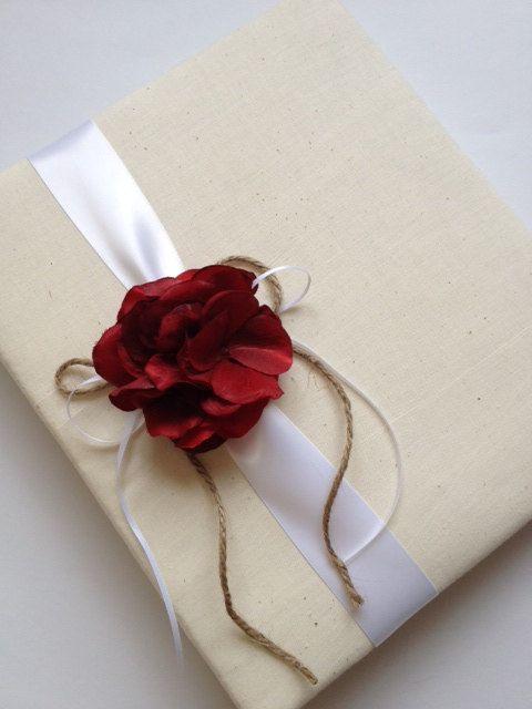 Large Rustic Red Hydrangea Wedding Photo Album