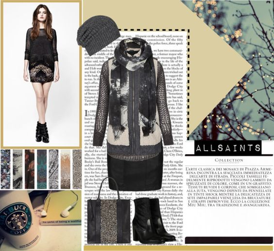 """""""Rainy Day Comforts [in AllSaints]"""" by angielou ❤ liked on Polyvore"""