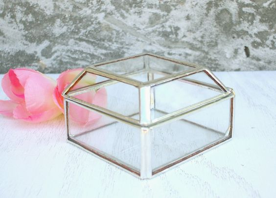 Silver Princess Cut Glass Display Box ‹› Geometric Hinged Jewelry Box ‹› Proposal, Engagement, Wedding ‹› Lead-free by AngularAlchemy on Etsy