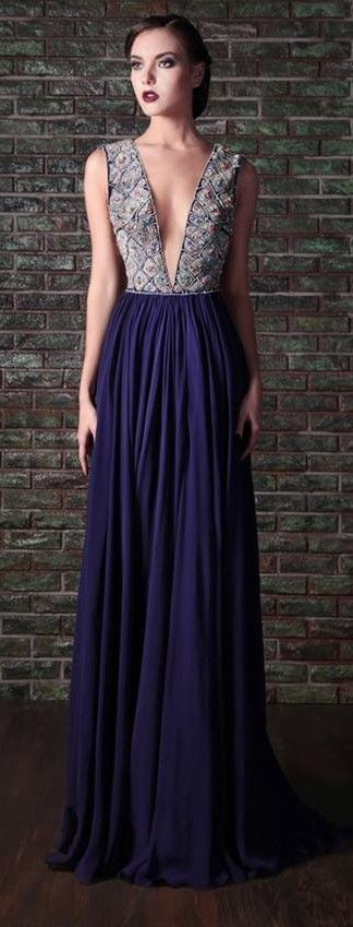 Deep-V Purple Gown: