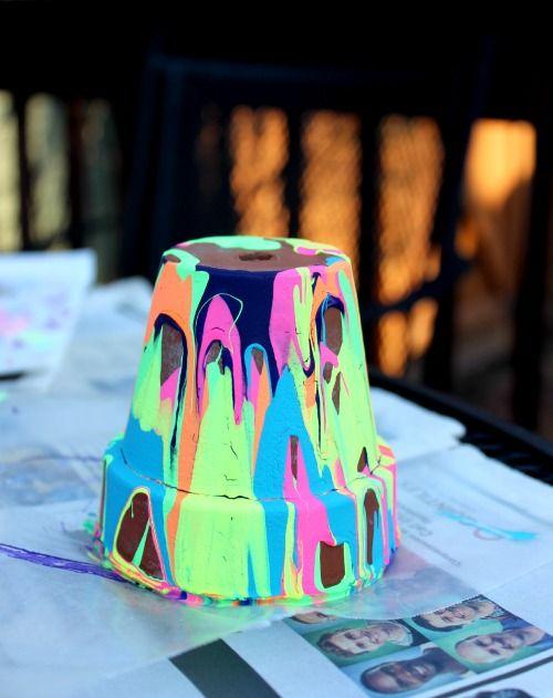 Kids Garden Art: Colorful Pour Pots - Edventures with Kids