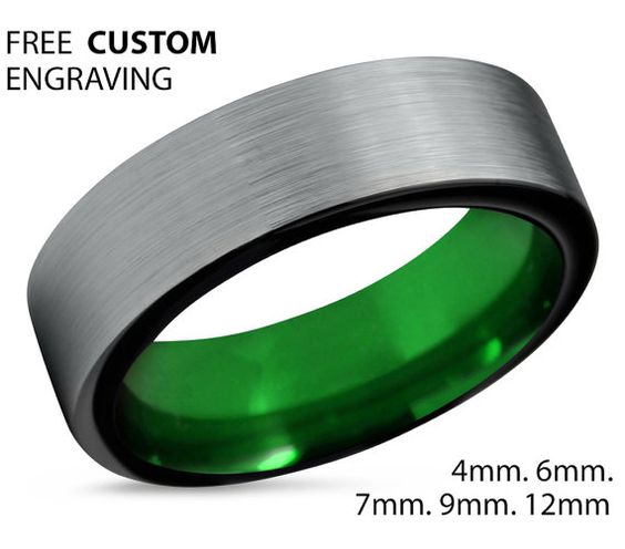 Tungsten Ring Mens Black Green Wedding Band Tungsten Ring Tungsten Carbide 7mm Tungsten Man Wedding Male Women Anniversary Matching Size