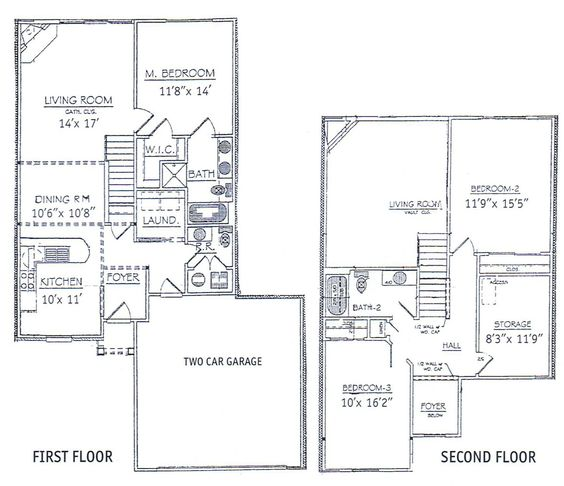 3 bedrooms floor plans 2 story bdrm basement the two Two bedroom house plans with basement