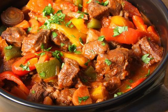 Zigeunersauce is made with brightly colored bell peppers, ground Hungarian paprika and tomato paste.