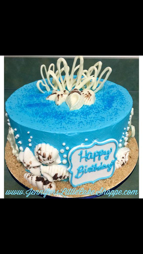 Seashell Birthday Cake With Chocolate Seashells Super Hero Cake From