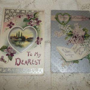 Lot of 2 Valentine Post Cards Violets Lilacs Germany