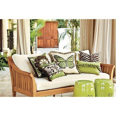 Designer Outdoor Ruffle Pillow