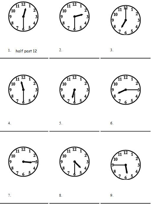 Time Worksheets : telling time worksheets oclock and half past ...