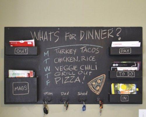 Chalkboard wall organizer