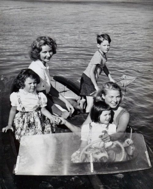 Ingrid Bergman and her children enjoy a day on the water near her villa at Santa Marinella, Italy, 1957.