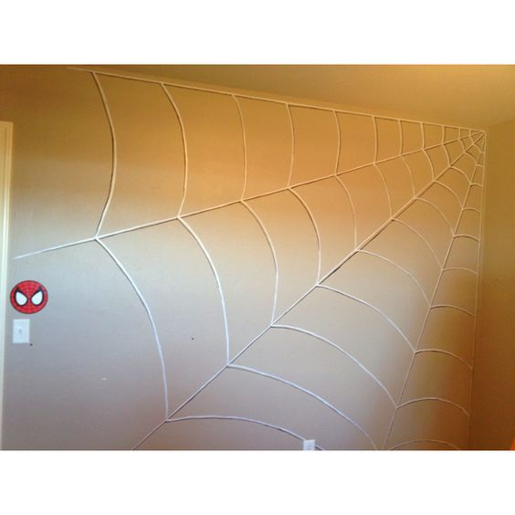 Spiderweb wall for Spiderman bedroom for little boy