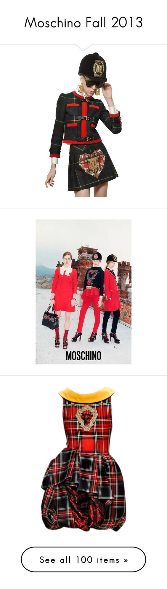 """Moschino Fall 2013"" by sella103 ❤ liked on Polyvore featuring outerwear, jackets, moschino, multi, heavy jacket, moschino jacket, plaid jacket, tartan jacket, logos and scritte"
